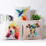 Housse de coussin dog art colorfull
