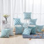Collection housse de coussin géométrique turquoise