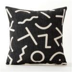 Housse de coussin carré géométrique noir et blanc