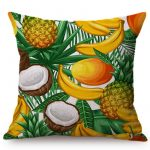 Housse de coussin collection fruits tropicaux