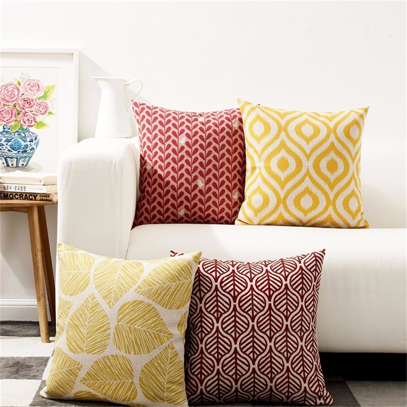 Housse de coussin collection yellow nordique retro