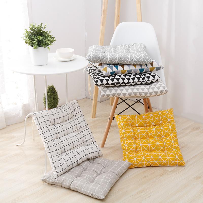 Coussin siège jaune géométrique et scandinave