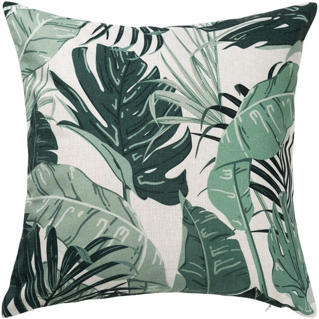 housse de coussin feuille verte tropicale