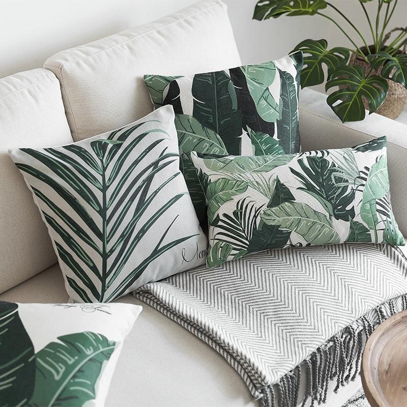 housse de coussin feuille verte tropicale 1
