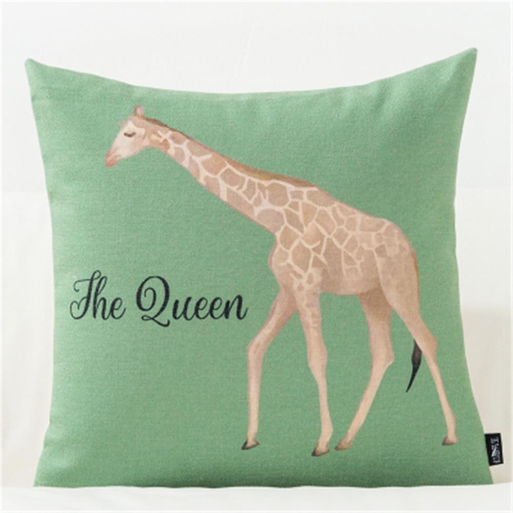 Housse de coussin nordique la girafe verte 2