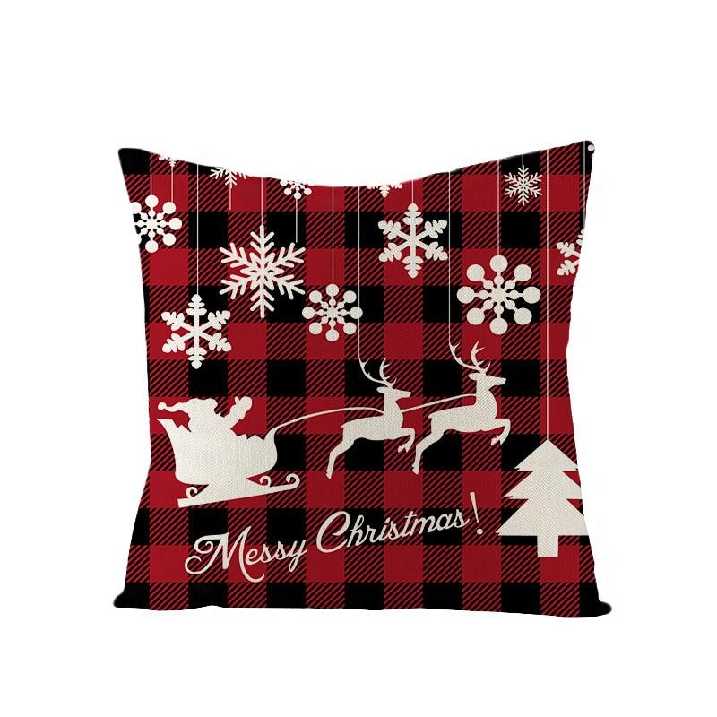 Housse de coussin Noël carré rouge 3