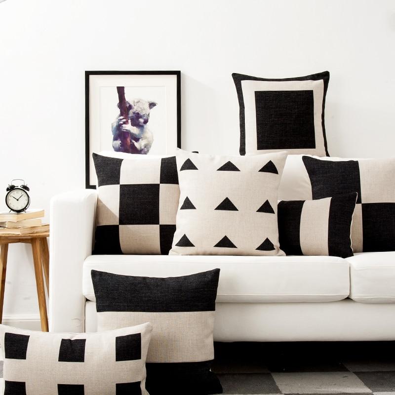 Housse de coussin scandinave noir et blanc géométrique 1