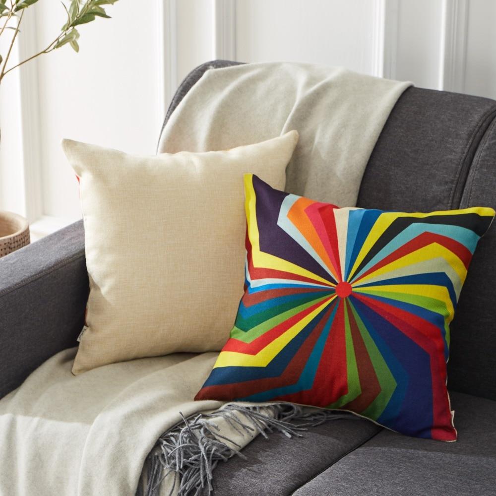 Housse de coussin géométrique damier multicolore 2