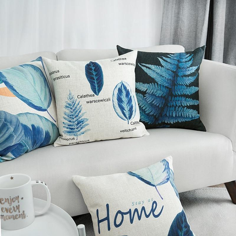 Housse de coussin plante bleu nordique 1