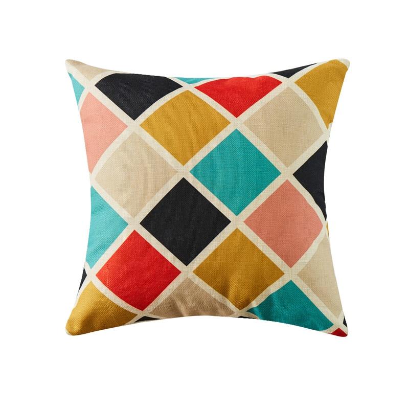 Housse de coussin géométrique damier multicolore 6
