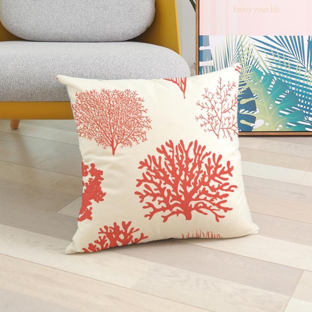 Housse de coussin géométrique fleur corail 3