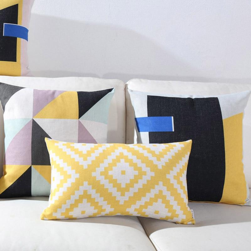 Housse de coussin scandinave géométrique bleu jaune 4