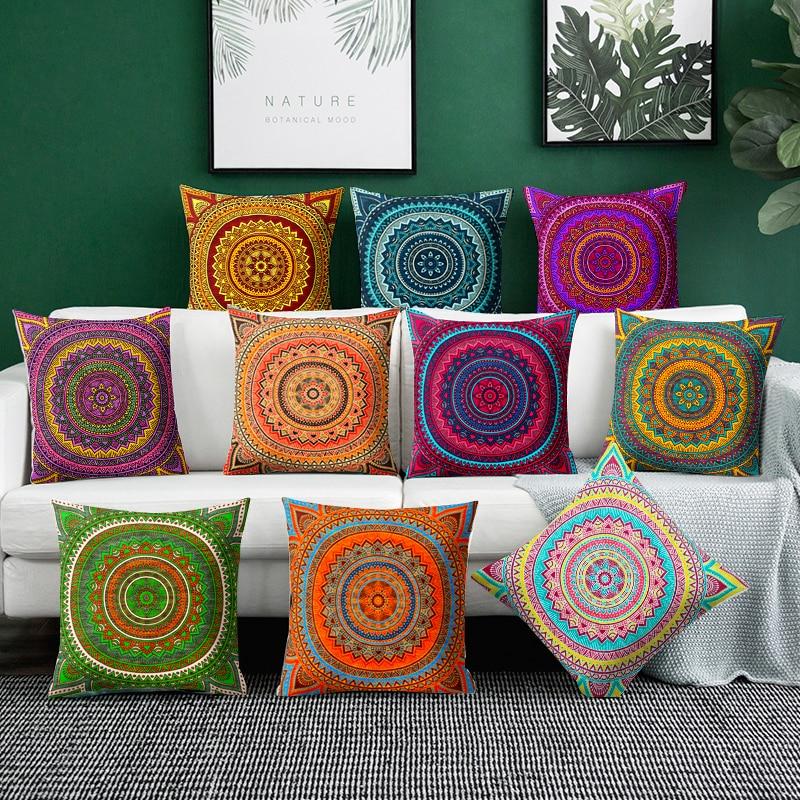 Housse de coussin Mandala cercle de couleur 1